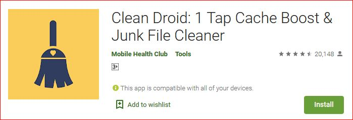 clean droid is the 1tap cache boost and junk file cleaner