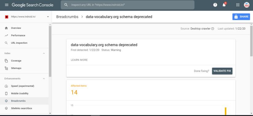 Fix Data-Vocabulary Schema Deprecated Breadcrumbs Error