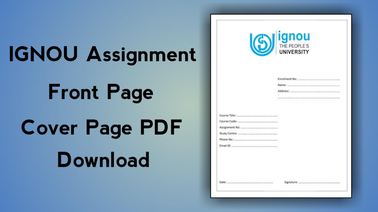 IGNOU Assignment Front Page PDF Download Cover Page Format Free in Hindi
