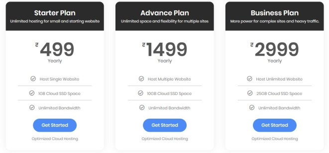 HostFizia Cloud Hosting Plan & Pricing