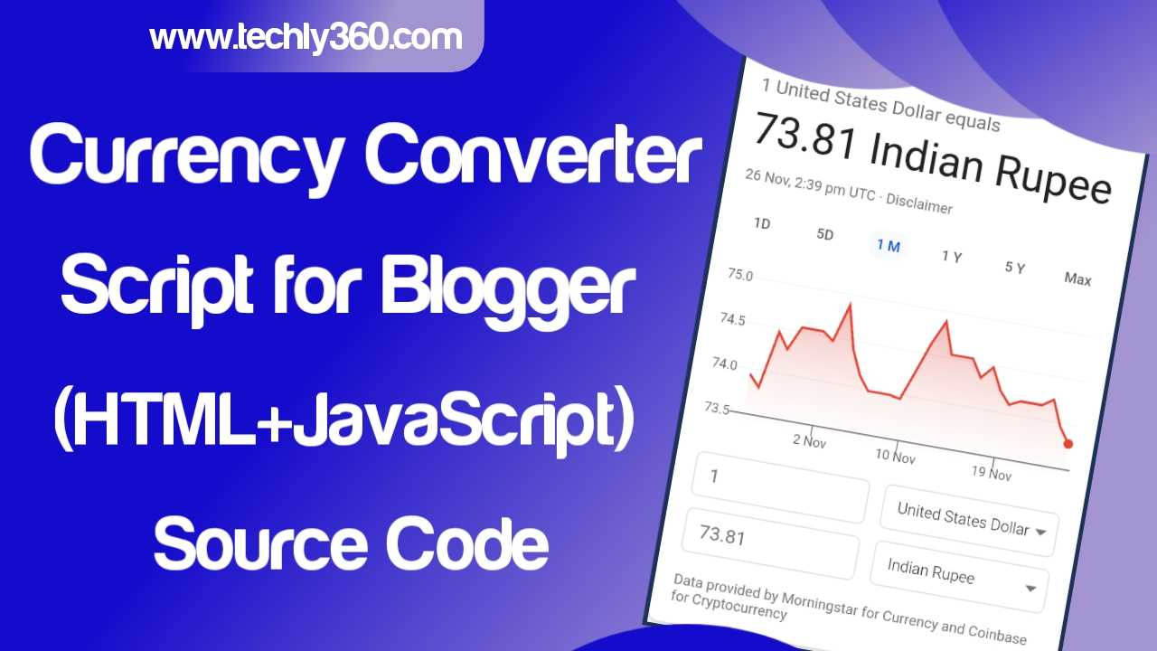 Currency Converter Script for Blogger: HTML JavaScript Source Code
