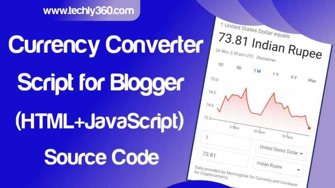 Currency Converter Script for Blogger HTML CSS JavaScript SourceCode, currency converter html template free php script