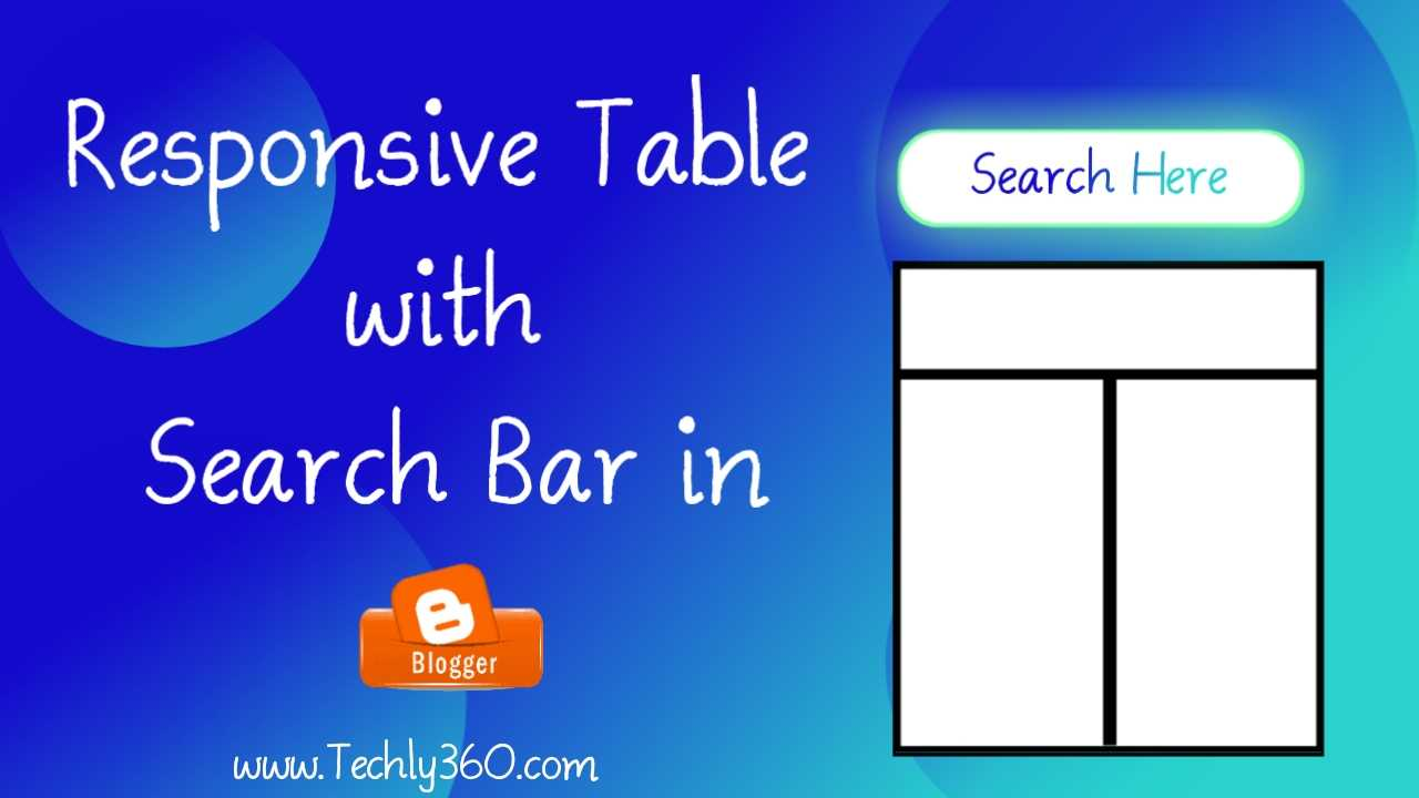 Create Responsive Table with Search Bar in Blogger