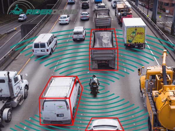 Rider Dome's Collison Alert System in action, Source: Rider Dome