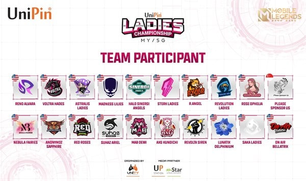 A total of 20 all-female esports teams from Malaysia and Singapore will compete in the UniPin Ladies Championship Malaysia Qualifier from 8th-10th October 2021.