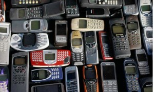 A collection of old Nokia mobile phones