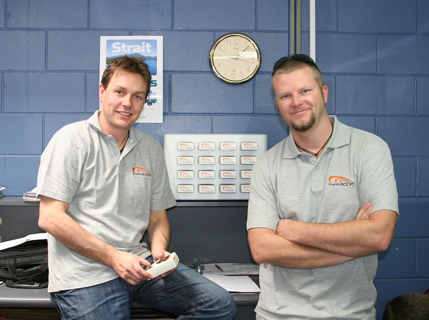 Hayden Braddock (left) and Mark Allewell (right) at Tourism Radio New Zealand