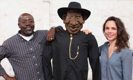 Executive Producers Godfrey Mwampembwa aka Gado, a Goodluck Jonathan puppet and Marie Lora-Mungai