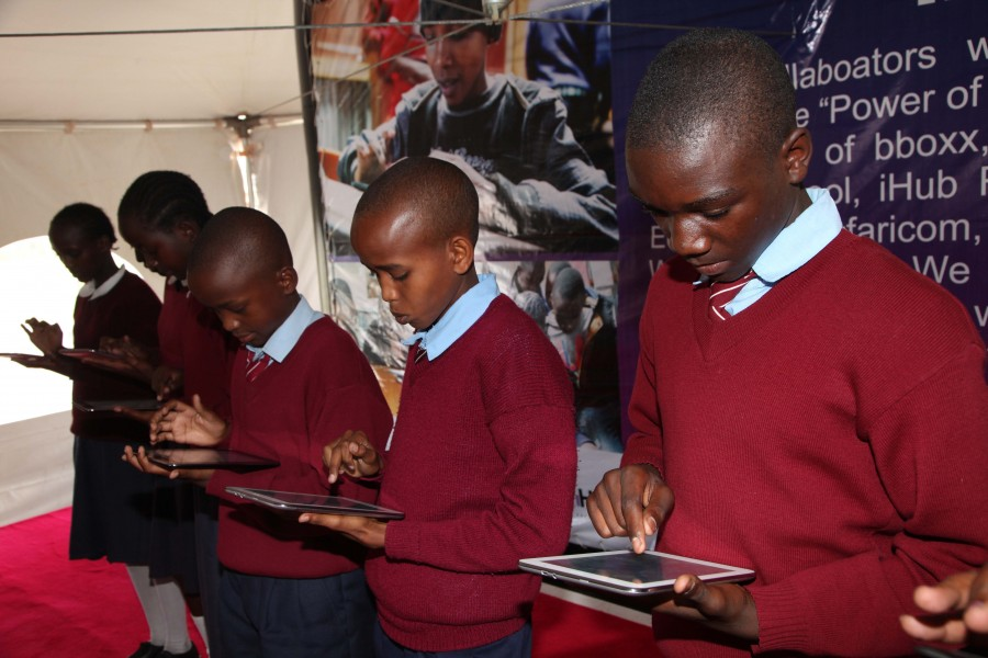 Students from Embakasi Garrison demonstrating how to us the tablets