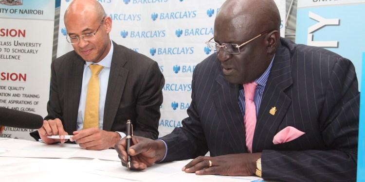 Barclays Bank of Kenya Managing Director Jeremy Awori and University of Nairobi Vice-Chancellor Prof. George Magoha