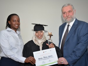 L to R, Veronicah Tchoketch, (Head of innovation, Safaricom), Balala Fatuma (graduand) (Dr.Joseph Sevilla (Director Ilab Africa)