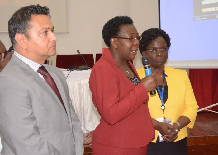 Suraj Shah, Africa Programs Director, Intel Corporation (Left) Martha Muhwenzi, Senior Programs Office, FAWE (Center), Hendrina Doroba, Executive Director FAWE (Right)