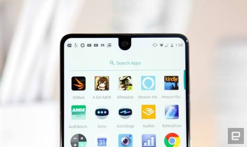 The neatly cut-out panel for the Selfie camera on the Essential Phone PH 1
