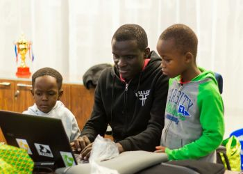 Tamre with some of his young trainees at Microsoft
