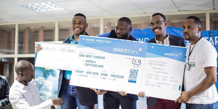 Tupuca team showing off their award at Seedstars