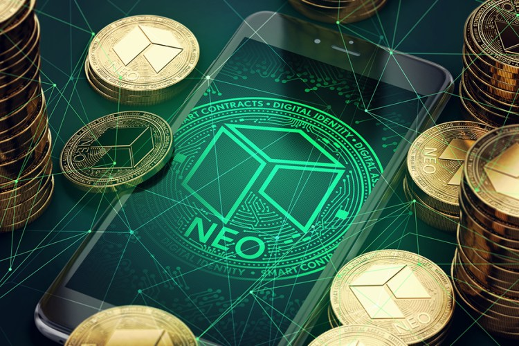 Smartphone with NEO symbol on-screen among piles of golden NEO coins. Blockchain transfers concept. 3D rendering