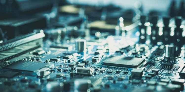 electronic computer hardware motherboard pc technology concept circuit board design industry and technician background