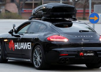 A driverless car controlled by a Huawei Mate 10 Pro mobile is pictured during the Mobile World Congress in Barcelona, Spain February 26, 2018. REUTERS/Yves Herman - RC1A64B61320