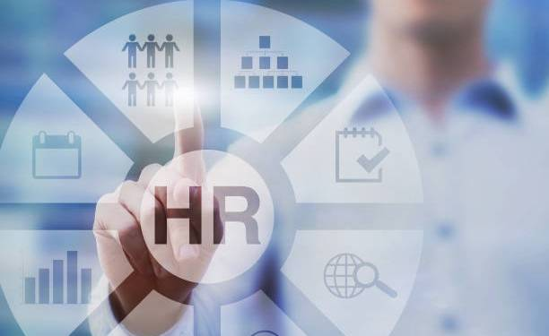 HR, human resources concept diagram on touch screen