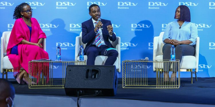 Image Caption L-R: Elsa Lunani, Head of DStv Business; Mike Macharia, CEO Kenya Association of Hotel Keepers and Caterers and Nancy Matimu, MD MulitChoice Kenya during the revamp of DStv Business packages.