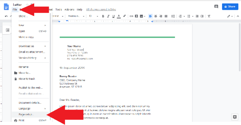 file option page setup google docs