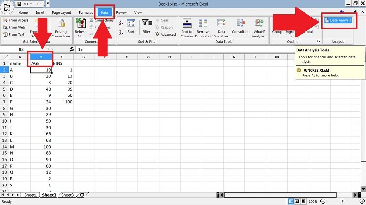 Data Analysis addon on Excel