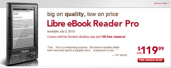 Borders Libre Ebook Reader Price And Release Date