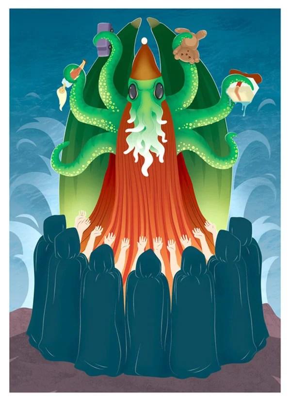 cthulhu santa claus merry christmas robin levy