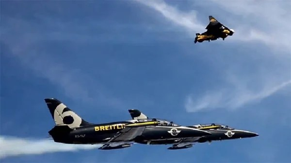 yves rossy jetman flying formation jets crazy