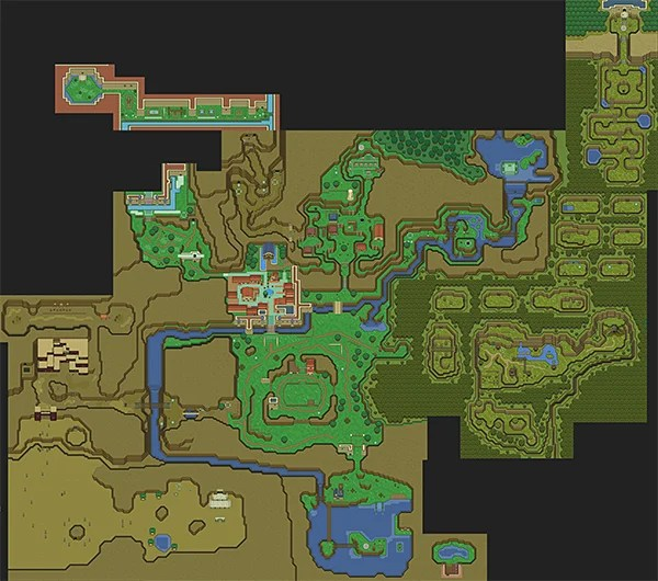 Legend of Zelda Ocarina of Time 16 bit Map  A Link to the SNES     legend of zelda ocarina of time 2d snes map by majora