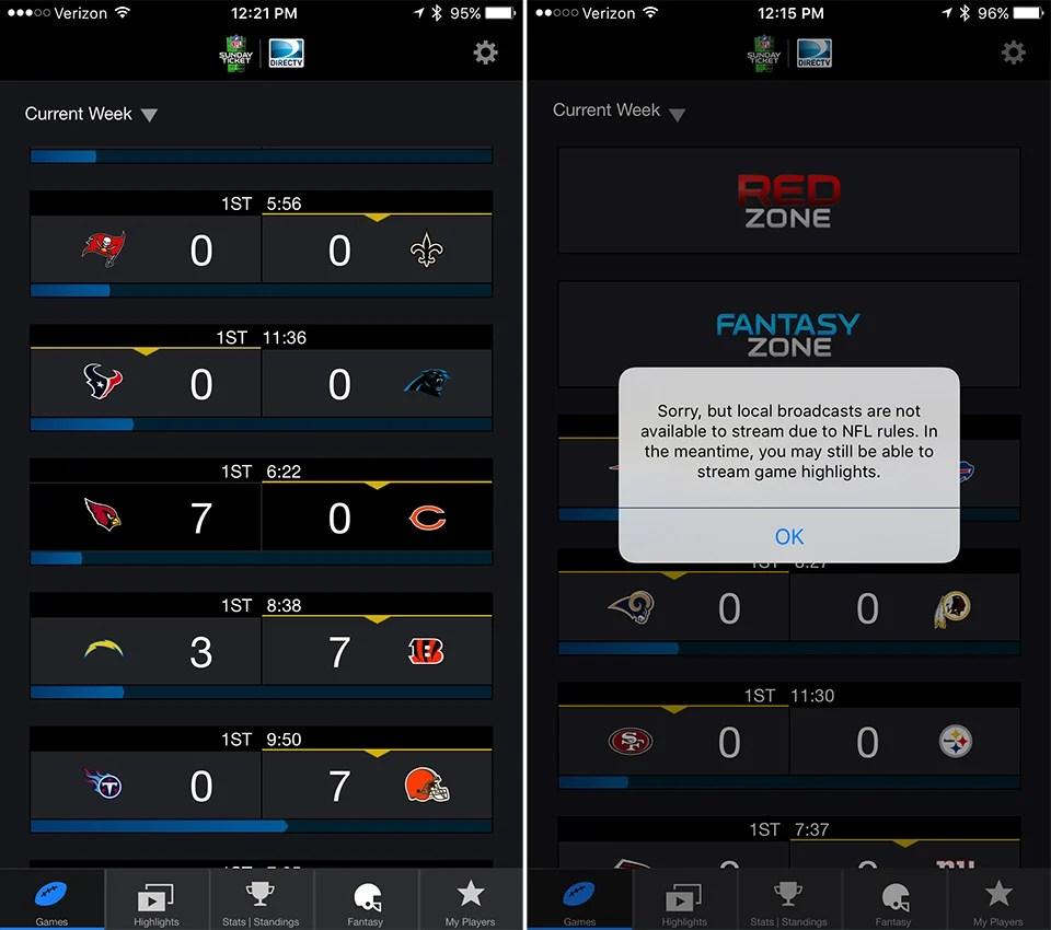 Review DirecTV NFL Sunday Ticket TV Live Streaming App