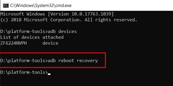 adb reboot recovery