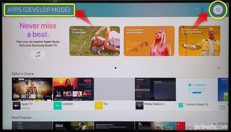 режим разработки телевизионных приложений Samsung