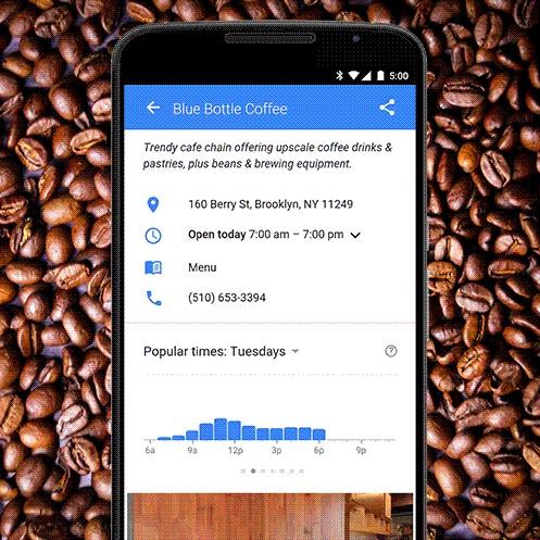 구글 검색으로 매장의 붐비는 시간 알 수 있는 기능 추가