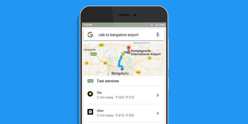 구글 검색만으로 차량을 부르는 서비스 인도에서 시작