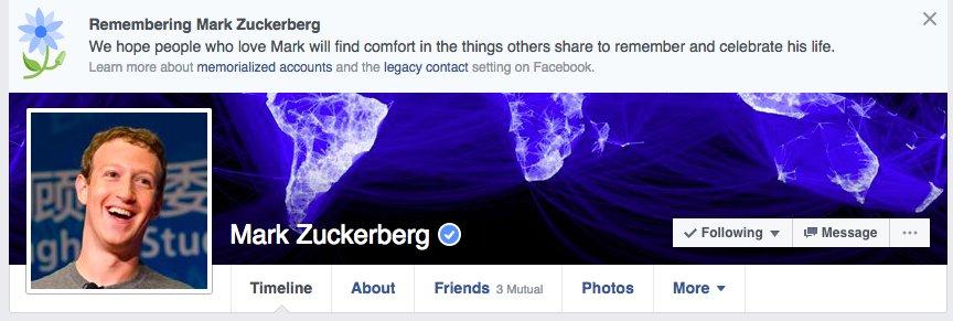 페이스북, 산 사람을 고인으로 추모하는 오류 발생
