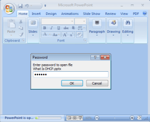 Set Password in PowerPoint Presentation 2007