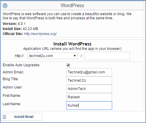 Install WordPress on Hostgator Using QuickInstall