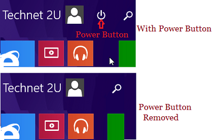 Add or Remove Power Button on Start Screen In Windows 8.1