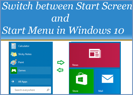 Switch Between Start Menu and Start Screen