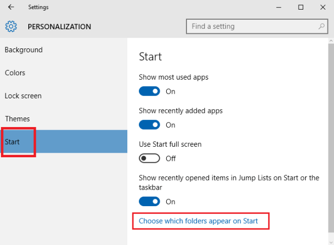 Add and Remove Folders on Start Menu In Windows 10