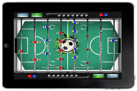 Play foosball on your iPad with a real foosball table
