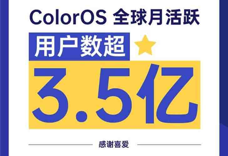 Oppo ColorOS monthly active monthly users exceed 350 million