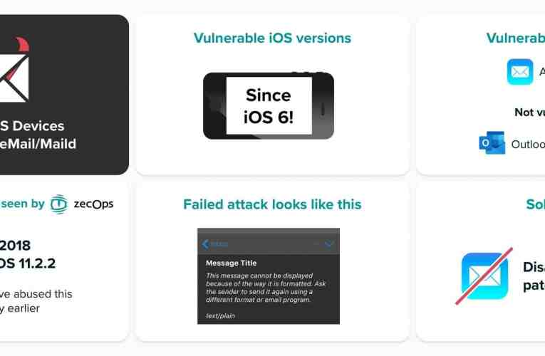 The iOS Mail application suffers from a serious security breach