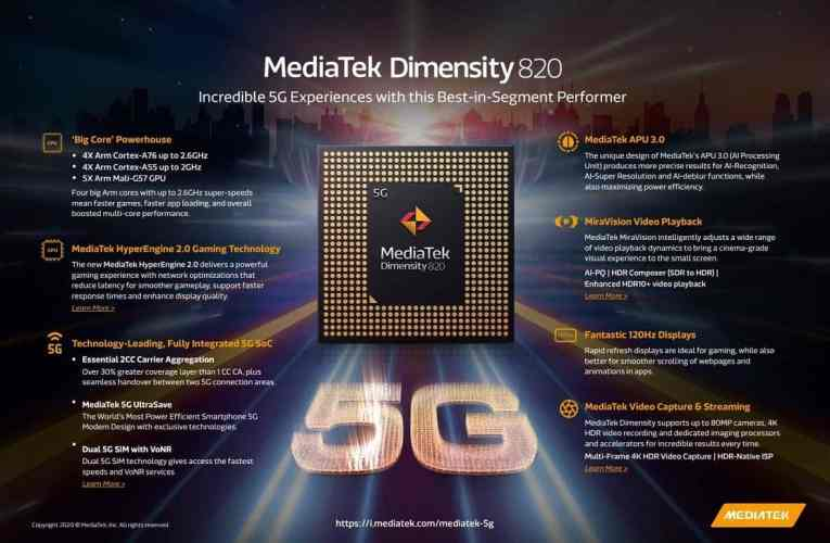 MediaTek Dimensity 820: Mid-range SoC with integrated 5G and 120 Hz support