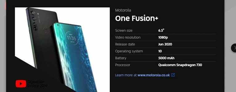 Motorola One Fusion Plus will be released in June
