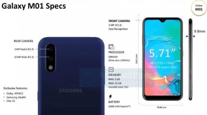 Samsung Galaxy M01 schematics leak reveal specifications and design