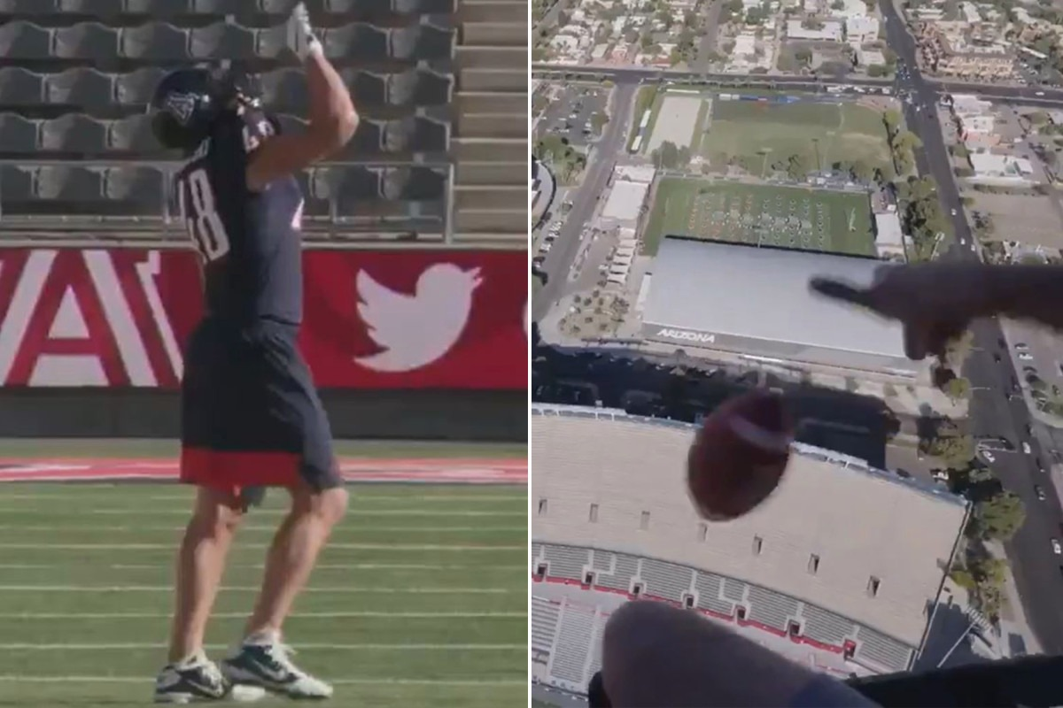 Rob Gronkowski makes world record catch on helicopter drop
