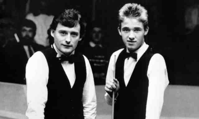 Jimmy White and Stephen Hendry before their 1988 second round match at the World Championship.