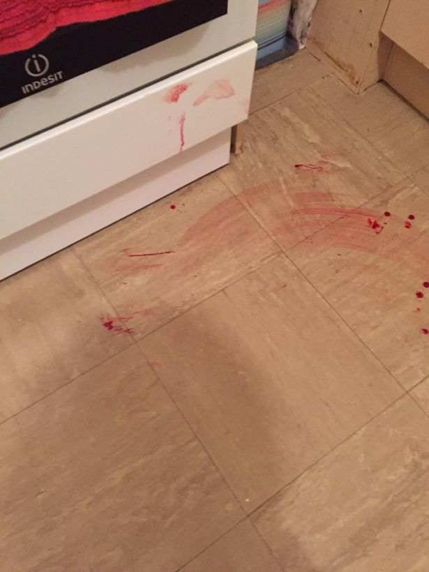 Blood on the floor after Mark Bamber, 52, was assaulted by Merseyside Police Constable Darren McIntyre